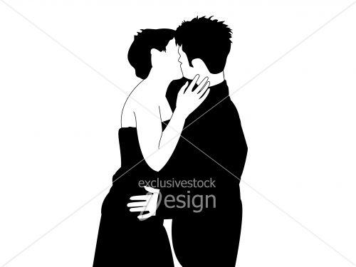 Baiser romantique jeune couple amour