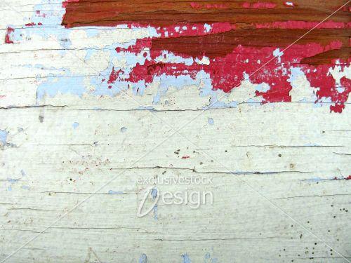 Bois peinture arrachée blanc bleu rouge et brun