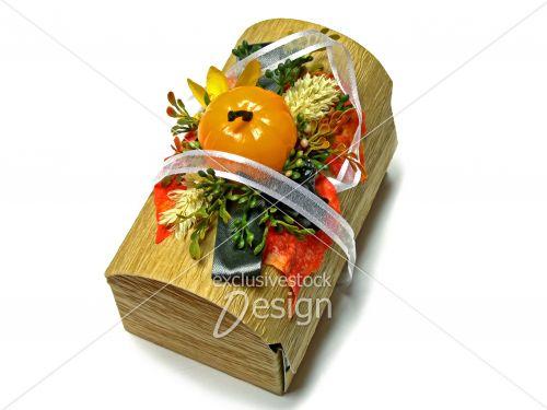 Boite carton imitation bois halloween citrouille