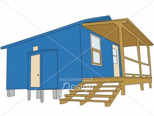 Chalet vectoriel bleu brun