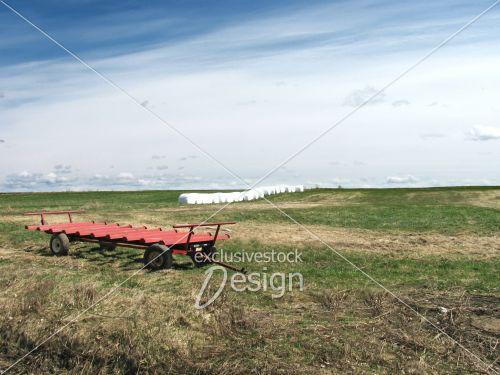 Cham mottes foin emballées brouette tracteur