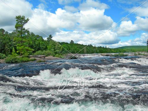 Chute eau roches plates forêt conifères