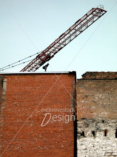 Grue dessus immeubles construction