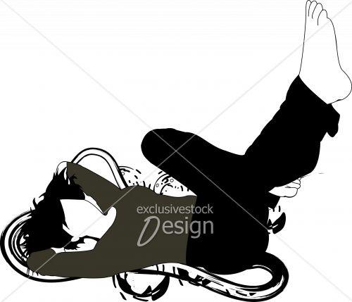 Jeune femme couchée sol pieds airs design artistique