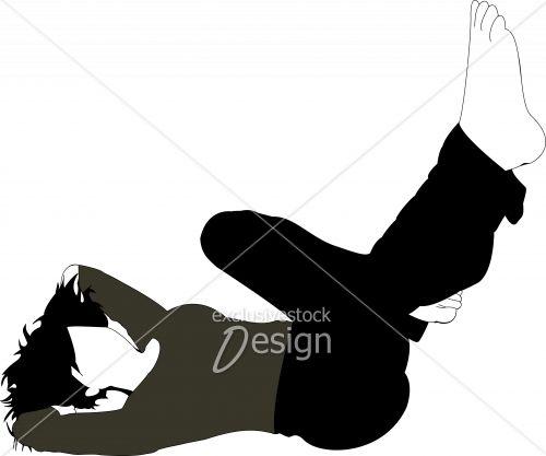 Jeune femme couchée sol pieds airs