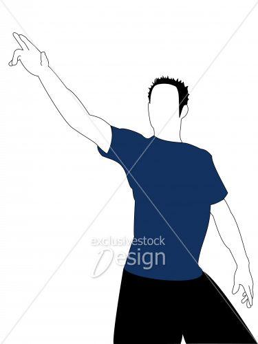 Jeune homme pointant ciel main droite