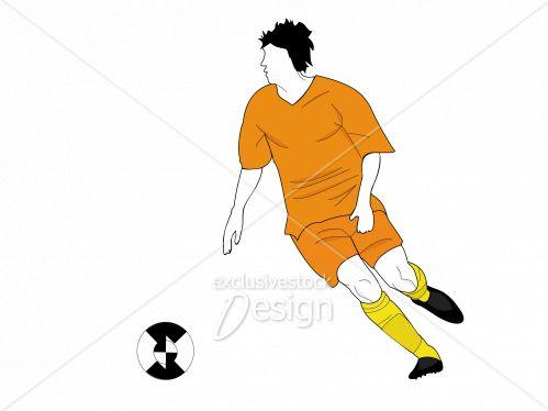 Joueur soccer mouvement courant ballon