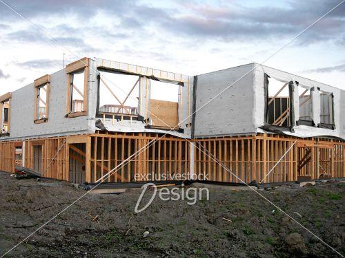 Maison construction couché soleil