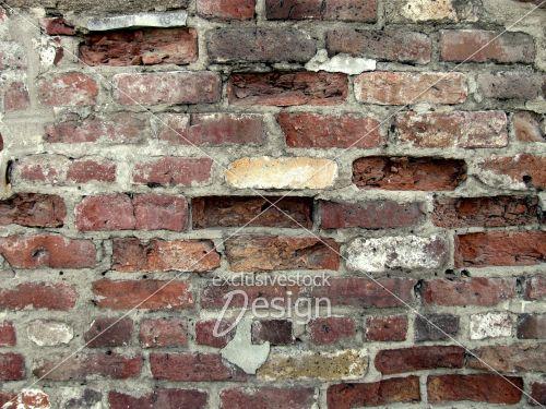 Mur briques dépareillées brisées