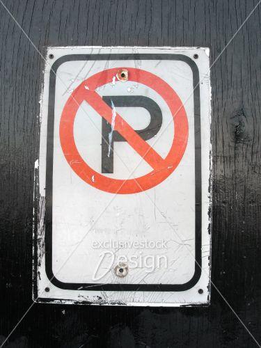 Pancarte interdit stationner no parking planche noire