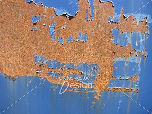 Peinture bleu écaillée plaque métal rouillée