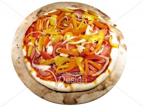 Pizza maison isolée fond blanc