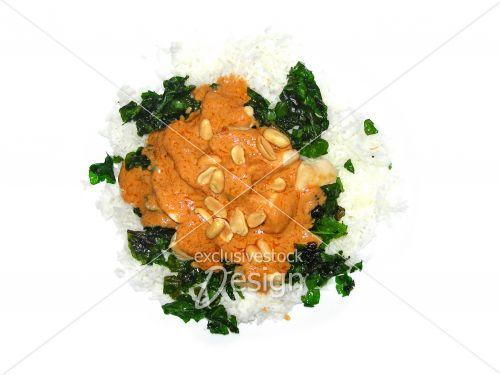 Poulet riz épinards sauce arachides