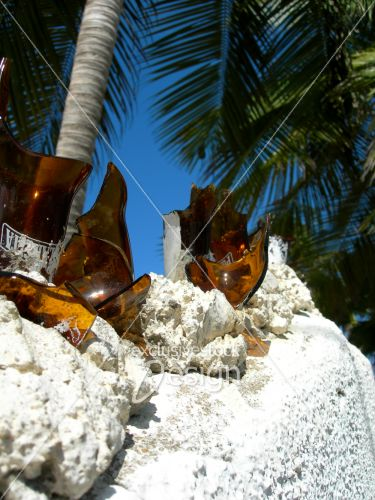 Protection mur hôtel bouteilles bière cassées verre
