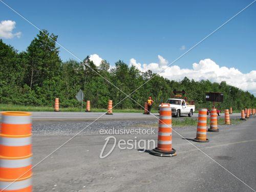 Travailleur service voirie circulation rue construction
