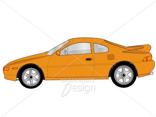 banque d 39 image voiture orange avec vue sur les vitres roues mags et aileron exclusive. Black Bedroom Furniture Sets. Home Design Ideas